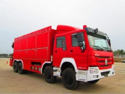HOWO 6x4 fire truck with containerized firefighting equipment