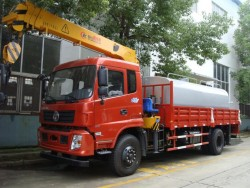 Dongfeng 8 ton multifunctional water tank mounted on boom crane truck