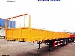 Good Quality 3 Axle Flatbed Side Wall Cargo Semi Trailer