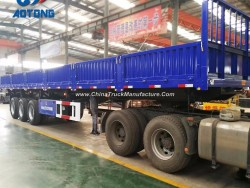 China Manufacture 3axle Flatbed Dump Semi Trailers with Side Wall
