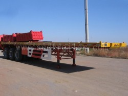 Tri-Axle 40FT 20FT Flatbed Container Semi Trailer for Sale