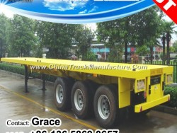 20FT 40FT Flatbed Semi Trailer, Tri-Axle Flatbed Trailer, Container Chassis, 2 Axles 3 Axles Contain