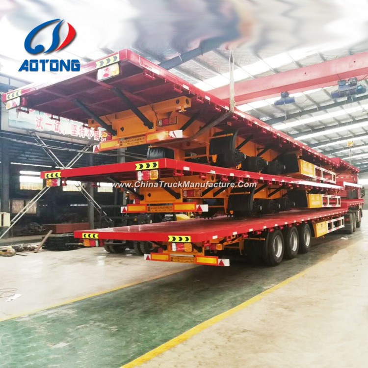 9a4cbe8626 Aotong Brand New 3 Axle Flatbed Container Trailers Semi Trailer for Sale