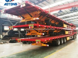 Aotong Brand New 3 Axle Flatbed Container Trailers/Semi Trailer for Sale