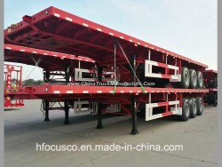 3 Axles 40FT Flatbed Container Cargo Semi Truck Trailer for Sale