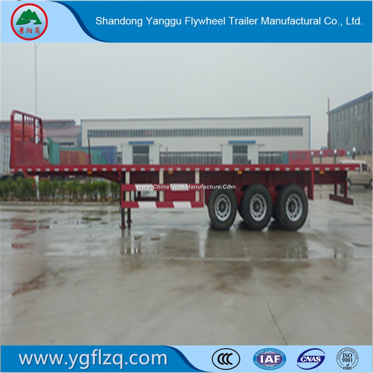 Tri-Axles 40FT Long Vehicles Flatbed Semi Trailer for Cargo/Container Transport
