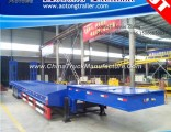 Tri Axle Gooseneck Low Flat Bed Semi Truck Trailer