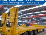 Tri-Axle Heavy Equipment Transport Lowbed Semi Trailer with Hydraulic Ladder