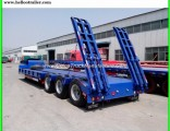 3 Axle 20FT 40FT 45FT 60ton Low Flatbed Container Semi Truck Trailer with Container Lock