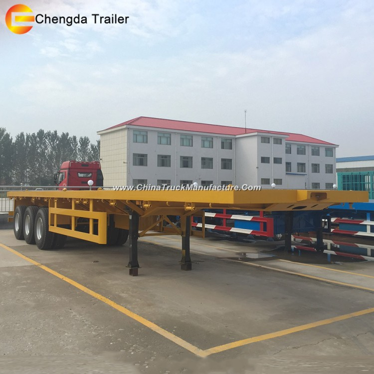 3 Axle 40ft Cheap Container Flatbed Semi Trailers