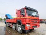 China Sinotruk HOWO 8X4 Cargo Truck 371HP Mounted Crane 30ton with Good Price for Sale