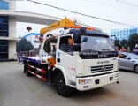 Dong Feng 4X2 Flat Bed Wrecker Truck with 2 Ton Crane