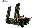 Heavy Duty 3 Axle 50ton Gooseneck Lowbed Semi Trailer with Hydraulic Ramps