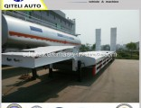 3 Axle Heavy Equipment Transport 80ton Lowbed Semi Trailer with Hydraulic Ladder