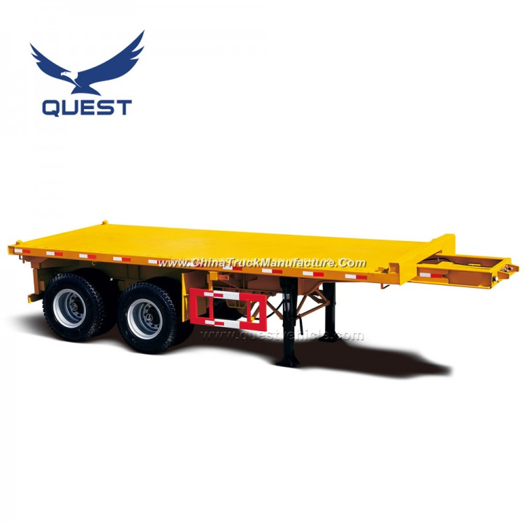 China 2-3 Axles 20FT 40FT Flatbed Container Cargo Semi Trailer