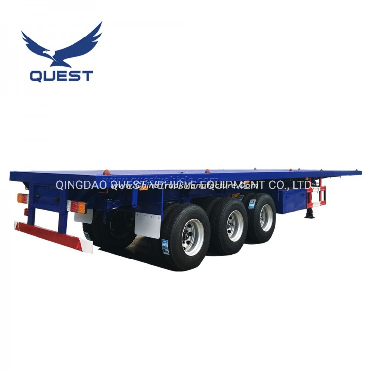 Quest Tractor 40 Feet Flatbed Container Semi Trailer for Sale