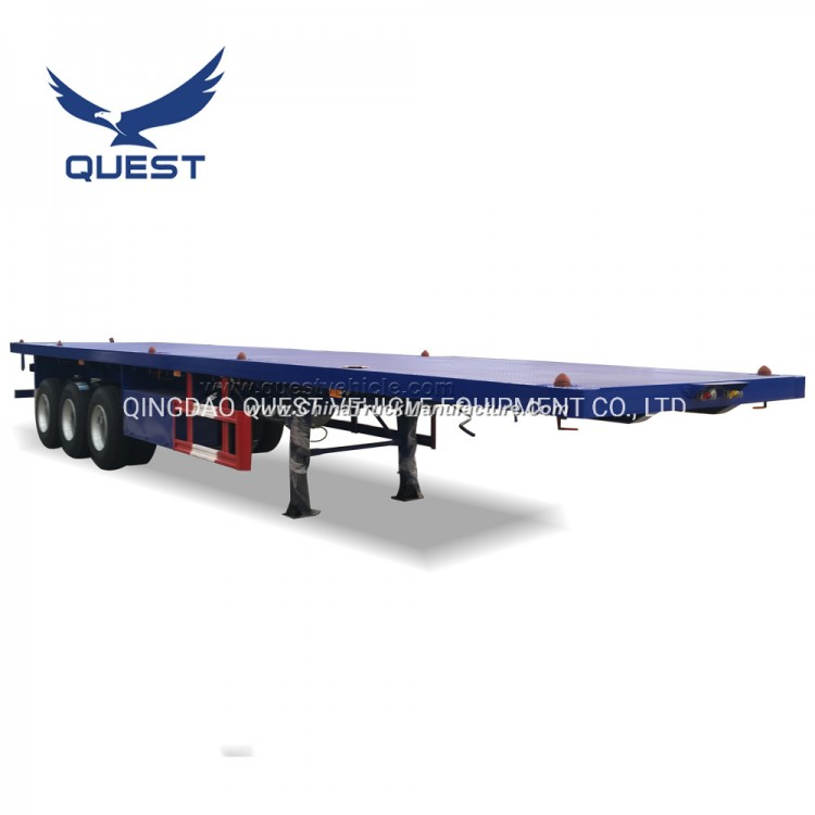 Quest Truck Trailer Manufacturers 40feet 3axles Flatbed Container Semi Trailer
