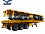 3 Axle Flat Track Container 40 Feet Flatbed Truck Trailer