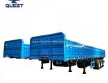 3 Axle 60ton Transport Cargo Flatbed Side Wall Semi Trailer