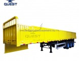 3axles Flatbed Truck Towing Side Wall Detachable Cargo Semi Trailer