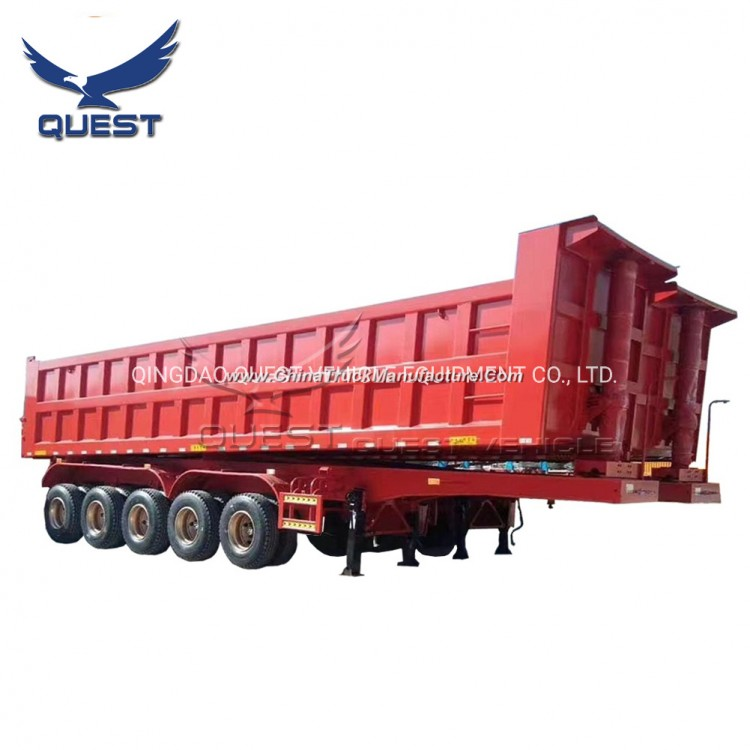 Hydraulic Lifting System 5axles 120tons Dump Semi Trailer Tipper Trailer
