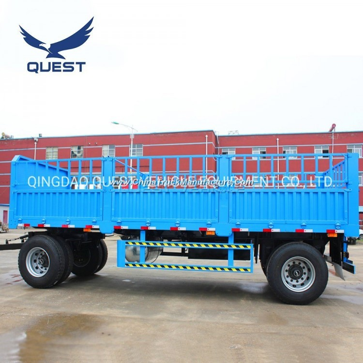 2axle 15ton Side Panel Cargo Drawbar Trailer Fence Full Trailer