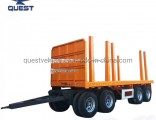 4axles Turntable Flatbed Cargo Timber Transport Draw Bar Full Trailer