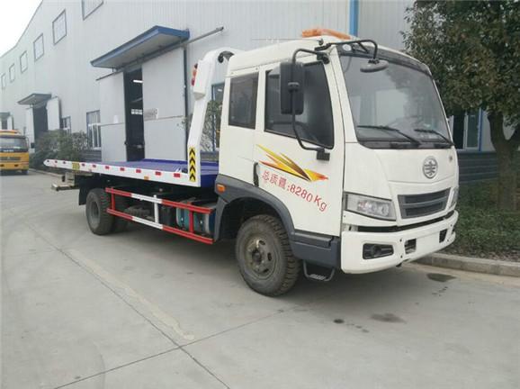 FAW 4*2 8 ton flatbed wrecker truck