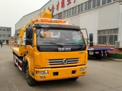Dongfeng platform wrecker truck with 4ton crane