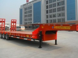 60 tons China new 3 axles lowbed semi trailer