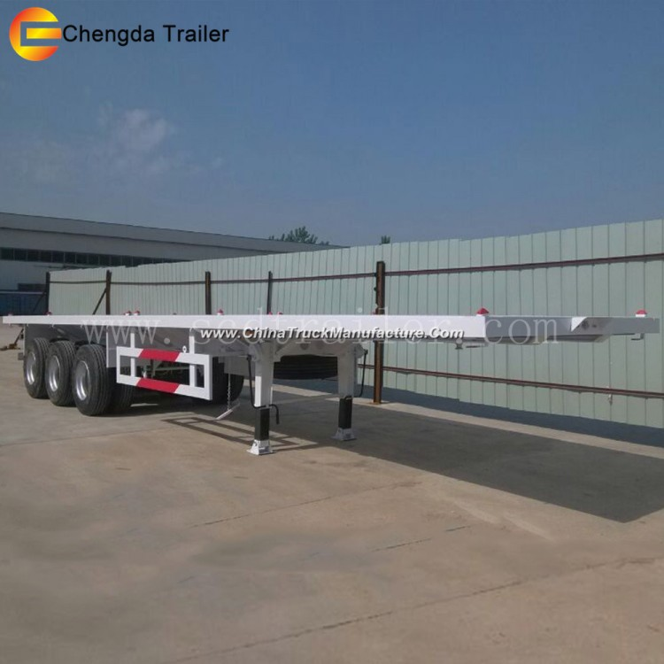 China 20FT 40FT 20 40 45 Feet Flat Bed Flatbed Container Semi Trailer