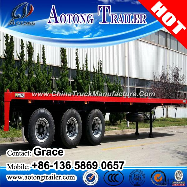 China Factory Tri-Axles Flatbed Container Semi Trailer on Sale