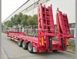 Blue 3axles Excavator Transport Gooseneck Lowboy Low Bed Lowbed Semi Trailer