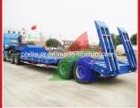 Blue 2 Axle 40t Gooseneck Low Bed Lowbed Lowboy Transportation Semi Remorque Trailer
