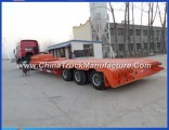 China 2 Line 4 Axles Gooseneck 40tons Low Flatbed Semi Trailer for Excavator
