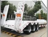 3 Axles Military Gooseneck Ramp Flat Lowbed Semi Truck Trailer