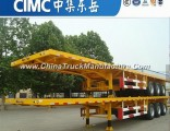 Cimc 3 Axle 2*20FT/1*40FT Tow Behind Container Flatbed Semi Trailer
