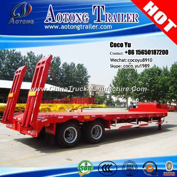Double Axis Drop Deck Semi Trailer with Tri-Angle Widening Support