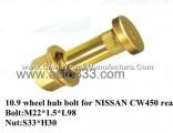 10.9 wheel hub bolt for truck NISSAN CW450 rear