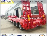 Truck Trailer Low Body Low Bed Trailer Semitrailer for 100 Ton Load Cargo
