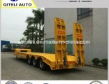 2/3/4 Axle 60ton Lowbed Truck Semi Trailer for Excavator Heavy Machinery Transport