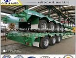 4 Axle 80t Low Bed Semi Trailer for Heavy Duty Machine Transport