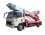 HOWO Truck Mounted Telescopic Ladder Truck for House Building Goods Lift and Download (House Furnitu