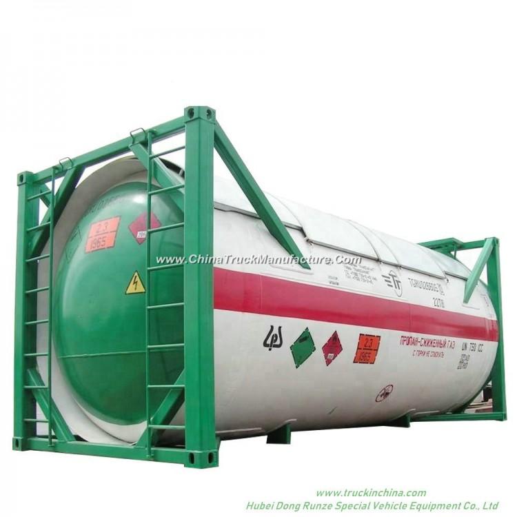 20FT ISO LPG Tank Container for Liquid Propane, Cooking Gas, Dem, Isobutane 24kl -40kl Custerm
