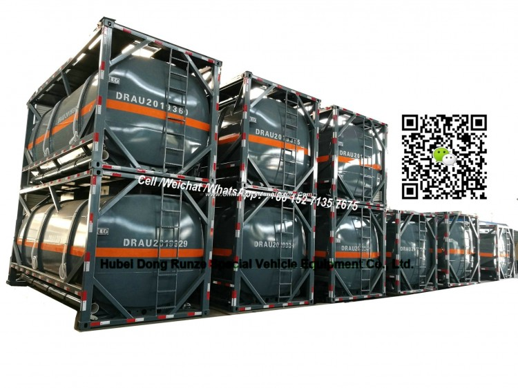 20FT ISO Hydrochloric Acid Tank Container 21cbm (21000 Liters Steel Lined LLDPE) for Vietnam Chemica