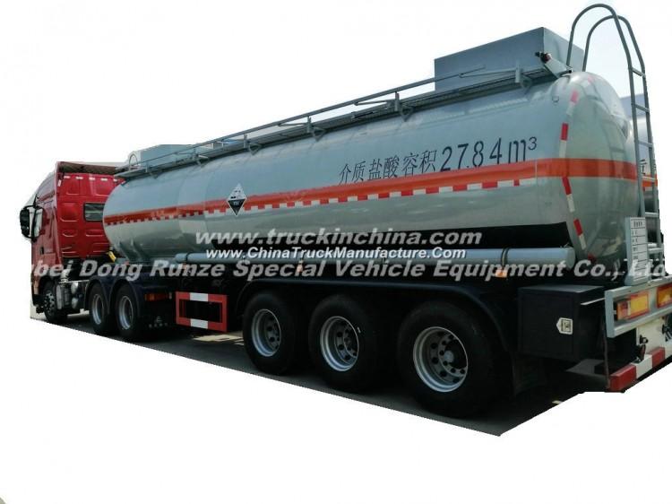 3 Axles Acid Tank Trailer for HCl (max 35%) , Naoh (max 50%) , Naclo (max 10%) , PAC (max 17%) , H2s