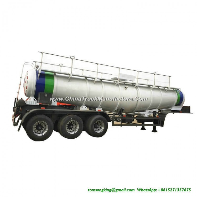 V Shape Concentrated Sulfuric Acid Tank Trailer Loading 99.8% H2so4 Transport 40 Ton 22000liters