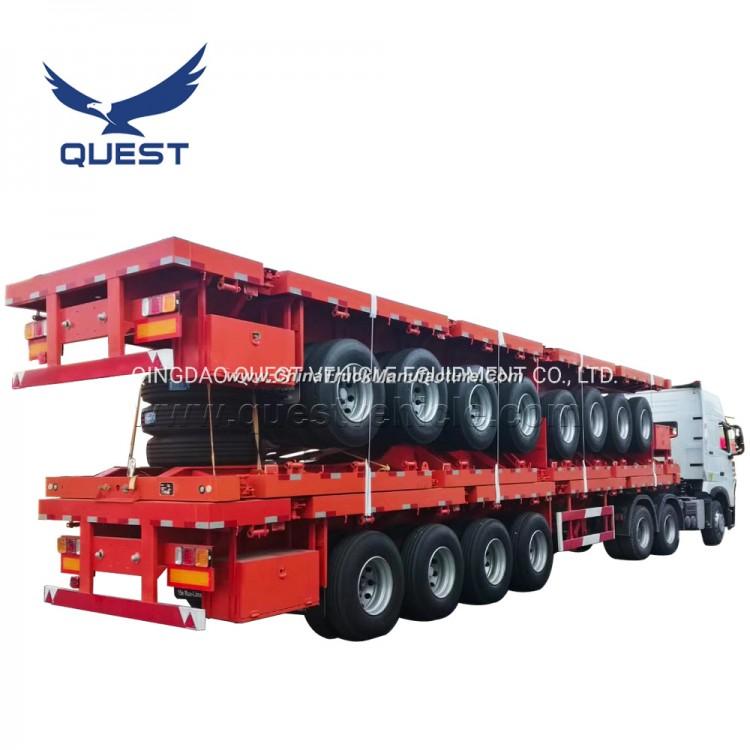 Quest China 80ton Container Truck Trailer 4 Axles Flatbed Semi-Trailer