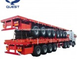 Quest China 80ton Container Truck Trailer 4 Axles Flatbed Semi-Trailer