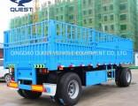2axles 30 Ton Cargo Fence Turnable Towing Drawbar Full Trailer